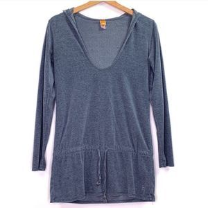 Lucy Blue V-Neck Hooded Long 3/4 Sleeve Sweater